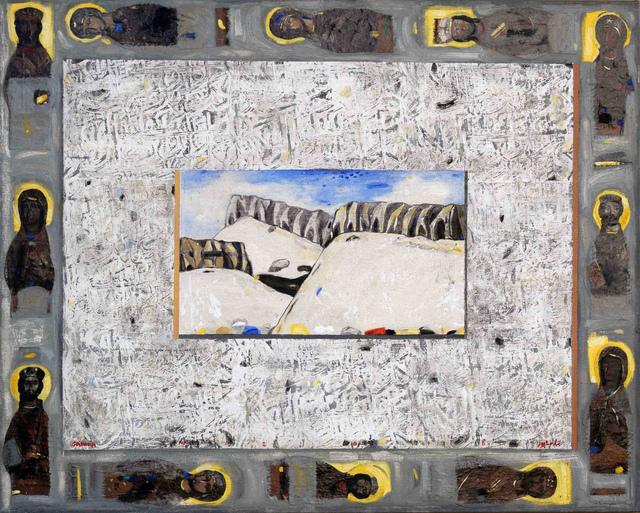 Nizar Sabour, 'The Guardians of Qalamoun', 2018, Painting, Mixed media on canvas, Janet Rady Fine Art