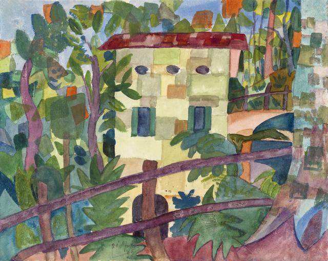 , 'Kubistisches Haus mit rotem Dach,' 1922, Ludorff