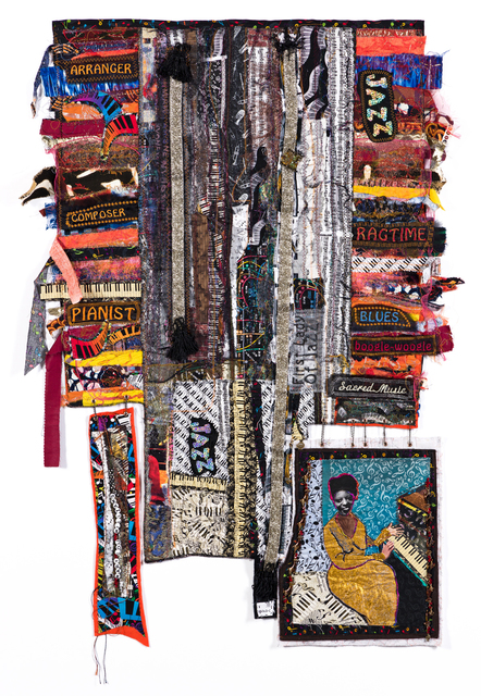 Dindga McCannon, 'Mary Lou Williams, Jazz Pianist', 2017, Mixed Media, Mixed media quilt assemblage, with machine embroidery, collage and appliqué, Swann Auction Galleries