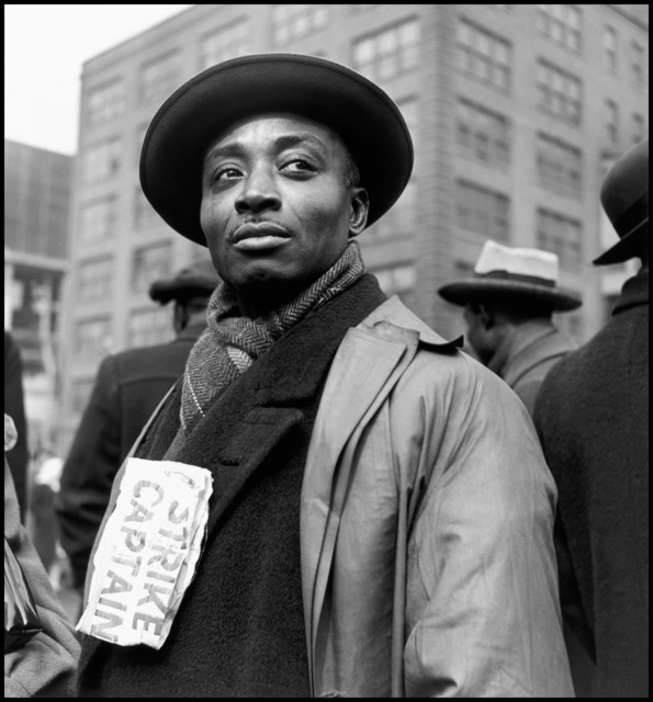 Wayne Miller, 'Strike captain during protest by the packing house workers. Chicago, Illinois. USA.', 1948, Magnum Photos