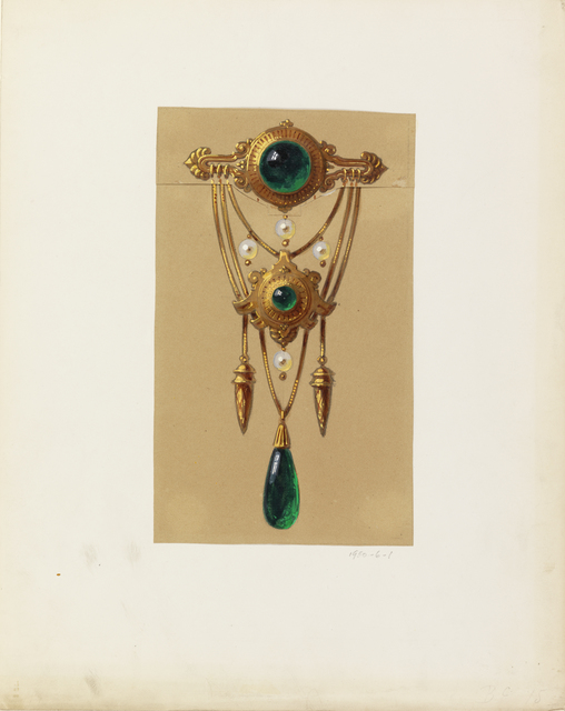 Alexis Falize, 'Design for a Gold and Cabochon Gem Brooch', 1855, Cooper Hewitt, Smithsonian Design Museum
