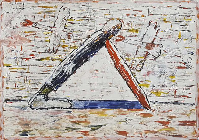 , 'Man Leaning Two Geese,' 1989, Linda Hodges Gallery