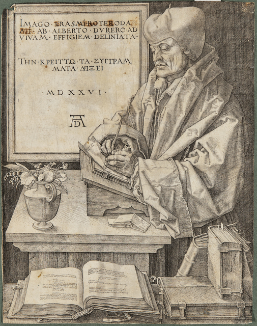Albrecht Dürer, 'Erasmus of Rotterdam', 1526, Print, Engraving on laid paper with partial watermark, Skinner