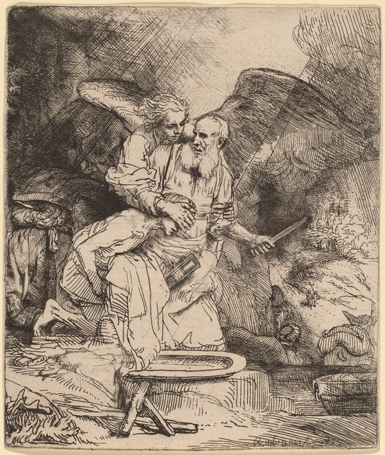 Rembrandt van Rijn, 'Abraham's Sacrifice', 1655, Print, Etching and drypoint, National Gallery of Art, Washington, D.C.