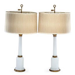 Pair of Opaline Glass Table Lamps