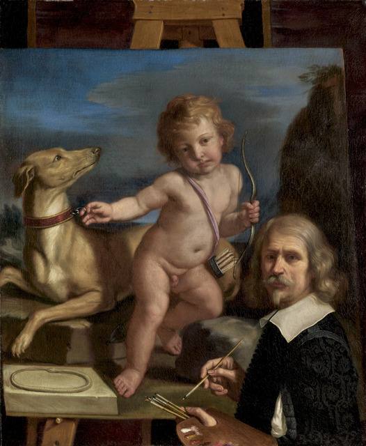 """Guercino, 'Self-Portrait before a Painting of """"Amor Fedele""""', 1655, National Gallery of Art, Washington, D.C."""