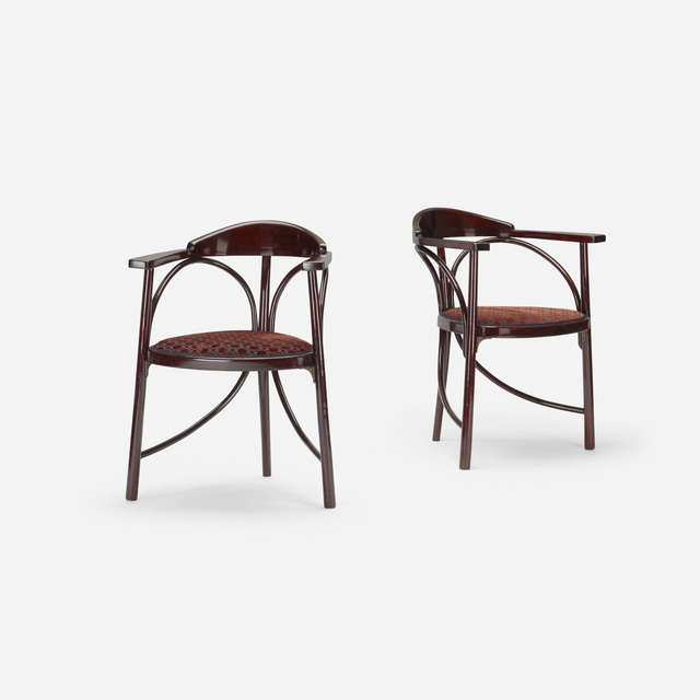 Thonet, 'Three-Legged chairs model no. 81, pair', c. 1900, Design/Decorative Art, Steam bent and lacquered beech, upholstery, brass, Rago/Wright