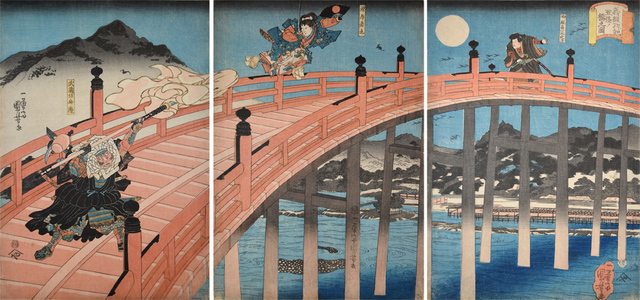 , 'Ushiwaka-maru and Benkei on Gojo Bridge,' ca. 1840, Ronin Gallery