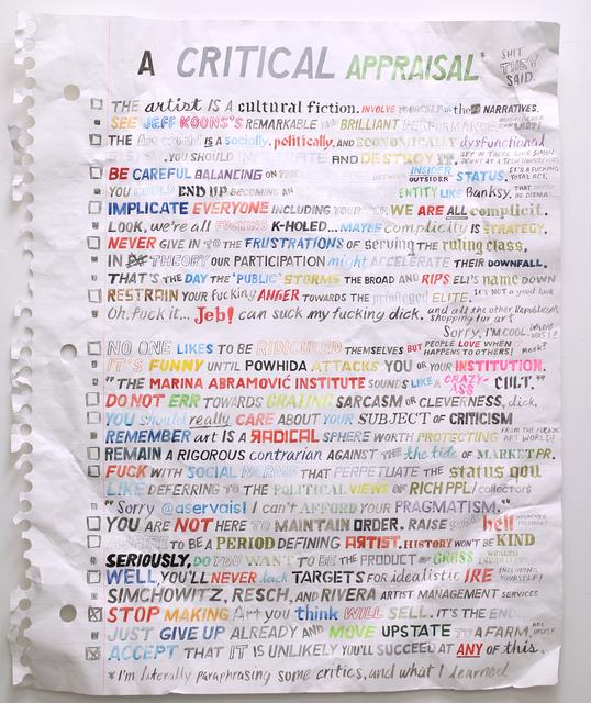 , 'A Critical Appraisal,' 2015, Gallery Poulsen
