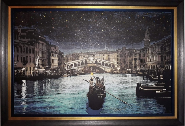 roamcouch, 'Wish Upon A Star Venice', 2017, Painting, Acrylic, Spraypaint and Gitter on Canvas, End to End Gallery