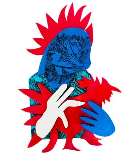 Katya Zvereva, 'Red Rooster ', 2020, Sculpture, Wood, paint, ink, HOFA Gallery (House of Fine Art)
