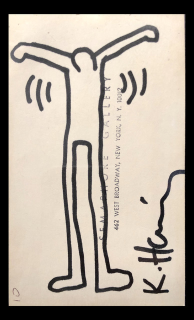 Keith Haring, 'Untitled (Ink Drawing on Semaphore Gallery Card)', 1984, Rosenfeld Gallery LLC