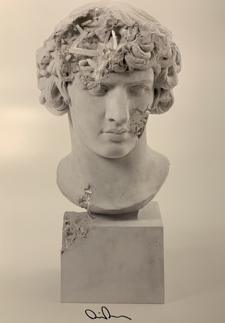 Daniel Arsham, 'DANIEL ARSHAM GRAY SELENITE ERODED ANTINOUS AS BACCHUS Signed & Numbered Street Art', 2020, Print, Lithograph on thin stock with vibrant Inks, New Union Gallery