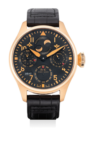 IWC, 'A fine and attractive limited edition pink gold pilot's wristwatch with perpetual calendar and power reserve indicator', Circa 2011, Phillips