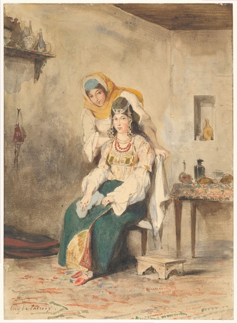 Eugène Delacroix, 'Saada, the Wife of Abraham Ben-Chimol, and Préciada, One of Their Daughters', 1832, The Metropolitan Museum of Art