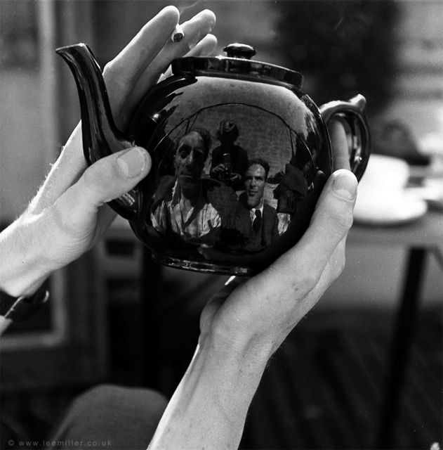 , 'Portrait of Leslie Hurry in a teapot, including Lee Miller and unknown, Vale Lodge, Vale of Heath, Hampstead, London, England,' 1943, Lee Miller Archives