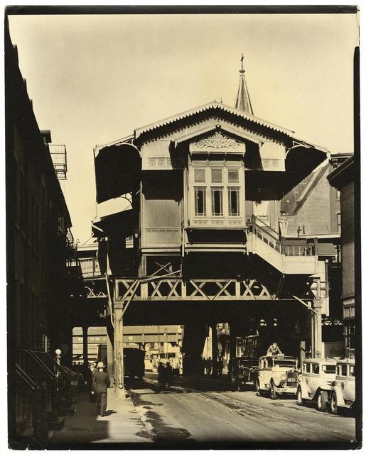 ", '""El"" Station, 9th Avenue Line, Christopher Street, Manhattan.,' 1936, The Old Print Shop, Inc."