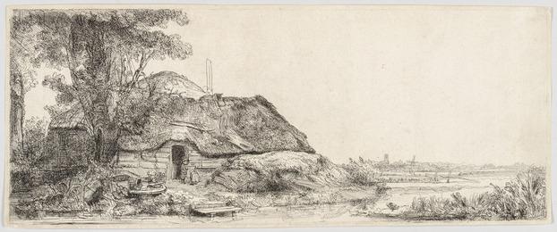 Rembrandt Harmensz. van Rijn, 'LANDSCAPE WITH A COTTAGE AND A LARGE TREE,' 1641, Christopher-Clark Fine Art