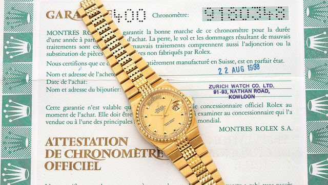"Rolex, 'A very rare and attractive yellow gold quartz wristwatch with day, date, sweep center seconds, ""Pyramide"" bracelet and guarantee', 1986, Phillips"