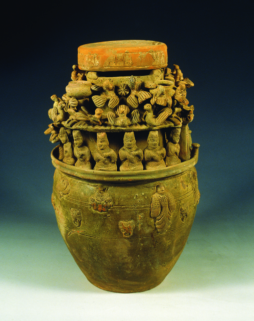 , 'Celadon soul-urn with modeled figures and pavilion,' 272, China Institute Gallery