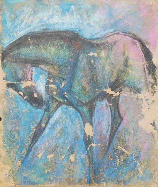 ", 'Horse V, Pastel on Sand Paper by Padma Shree Artist Sunil Das ""In Stock"",' 1950, Gallery Kolkata"