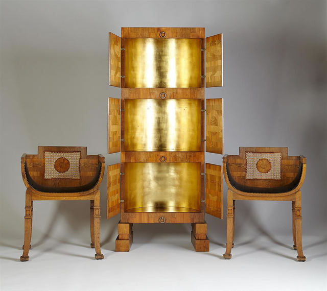 , 'Gilded cabinet and pair of small armchairs,' 1925, Modernity