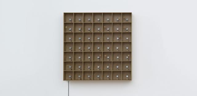 , '49 prepared dc-motors, cork balls, mdf boxes 13x13x13cm,' 2015, bitforms gallery