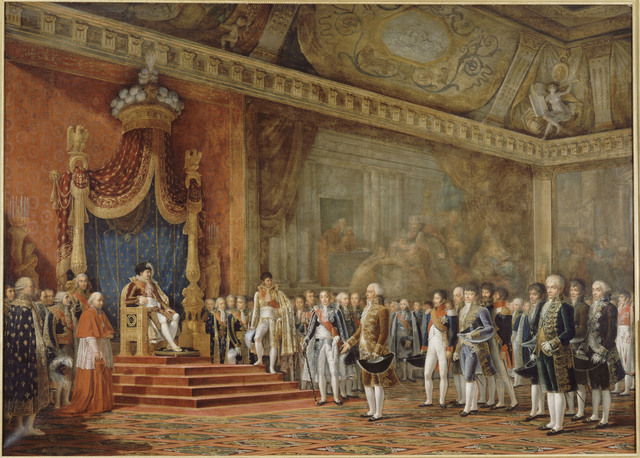 , 'La Députation du Sénat romain offrant ses hommages à S. M. l'Empereur et Roi, 16 novembre 1809 (The Deputation from the Roman Senate paying homage to Napoleon 1 on 16 November 1809),' 1810, Château de Fontainebleau