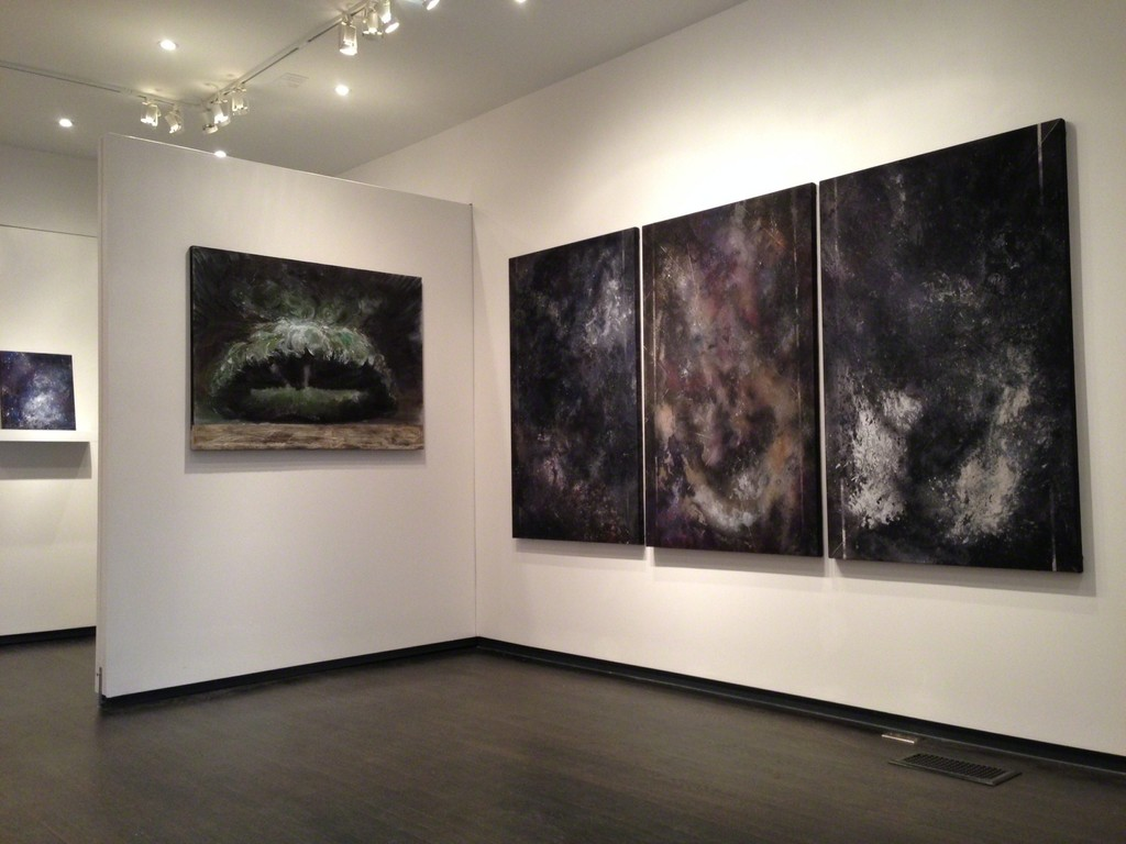 """Enso Triptych"" and ""Super Cell"".  These paintings explore themes of climate change."