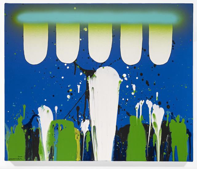 Sadamasa Motonaga, 'White Blue Green', 2000, Painting, Acrylic on canvas, DELAHUNTY