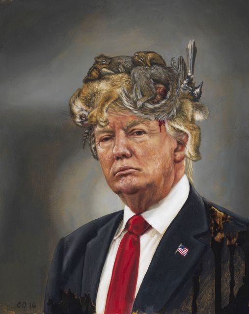 , 'Donald Trump with a Crown of Roadkill,' 2016, The Untitled Space
