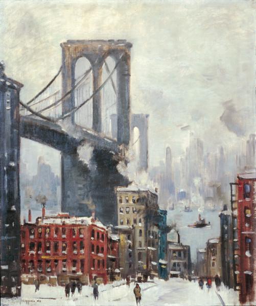 Guy Carleton Wiggins | Brooklyn Bridge, Winter (ca  1920