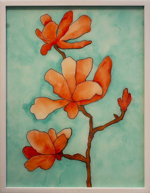 Helen K. Tindel, 'Baraka Blooms', 2020, Painting, Watercolor and ink on mat board with resin, Blue Rain Gallery