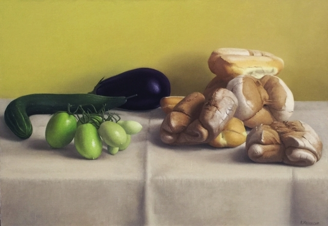 , 'Still Life with Green Tomatoes and Bread,' 2011, Clark Gallery