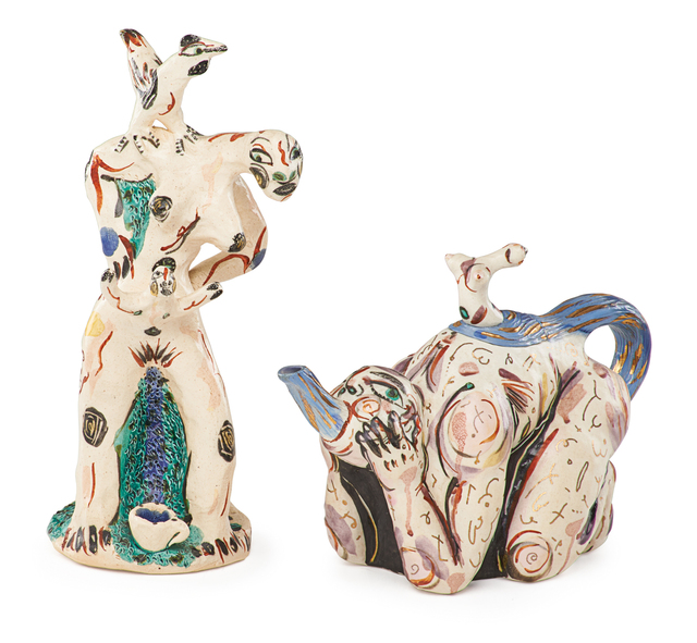 Akio Takamori, 'Untitled figural teapot and sculpture of a woman with children and chicken', Rago