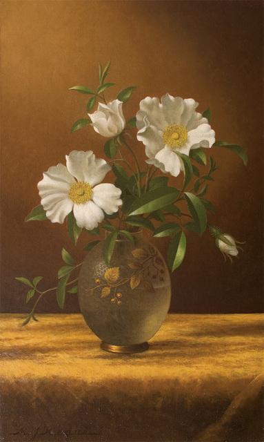 Martin Johnson Heade, 'Cherokee Roses in an Opalescent Vase', ca. 1883-1895, Questroyal Fine Art