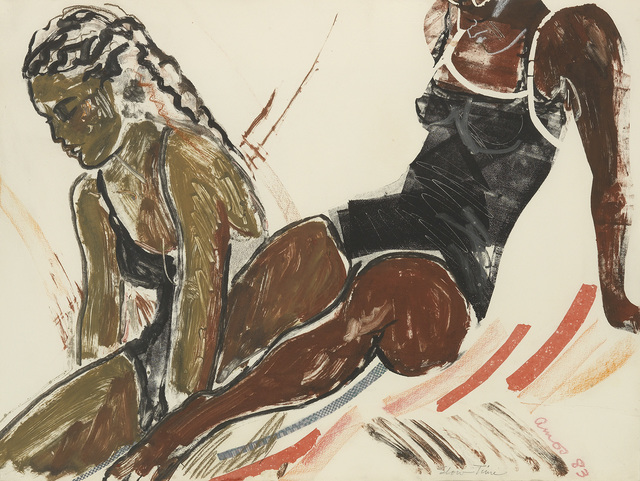 Emma Amos, 'Slow Time', 1983, Print, Color monotype, color pastels and stencil with paper and fabric collage on thick cream wove paper, Swann Auction Galleries