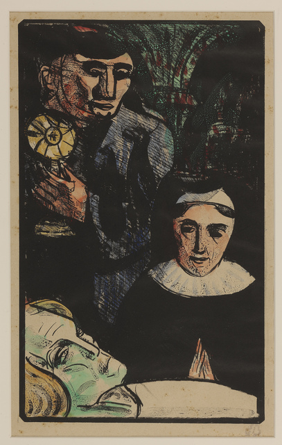 Émile Bernard, 'They come bearing the Holy Sacrament', 1891-1892, Print, Zincograph with hand coloring, on paper, Hill-Stone, Inc.