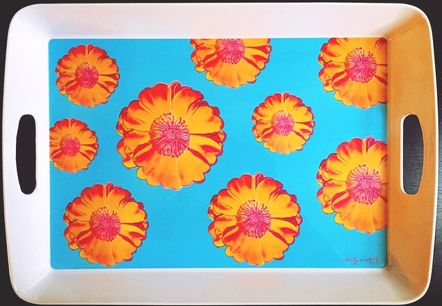 Andy Warhol, 'Prototype Tray for Andy Warhol's Tacoma Flower Design  (from the estate of Tim Hunt, Warhol Foundation curator and sales agent)', 2005, Design/Decorative Art, Melamine Tray. Plate signed with labels and markings on the verso., Alpha 137 Gallery
