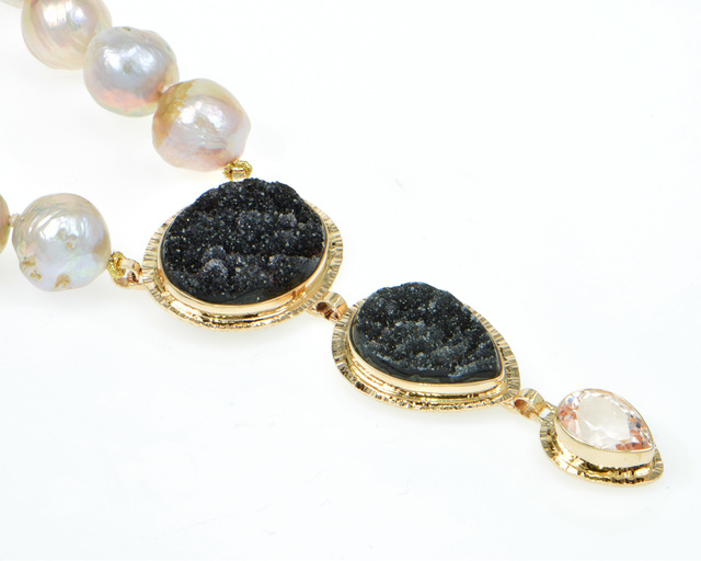 , 'Black Drusy Quartz & Kunzite necklace with pink Freshwater Ming Pearls,' , Miller White Fine Arts
