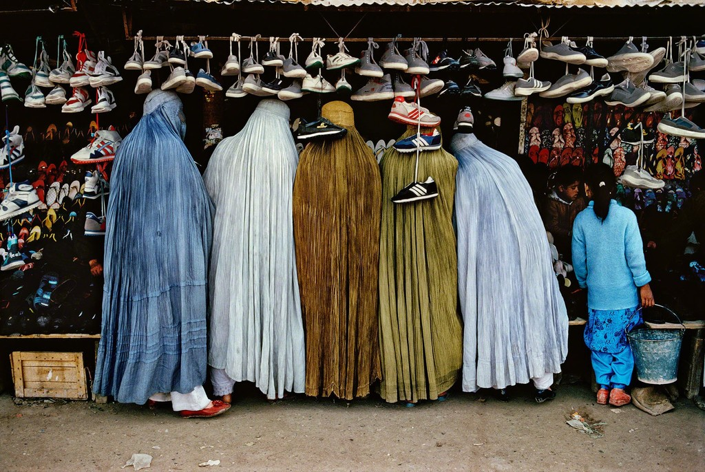 Afghan Women at Shoe Store, Kabul, Afghanistan,