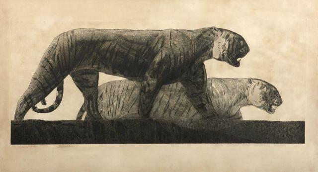 , 'TwoTigers walking,' ca. 1925, Galerie Marcilhac