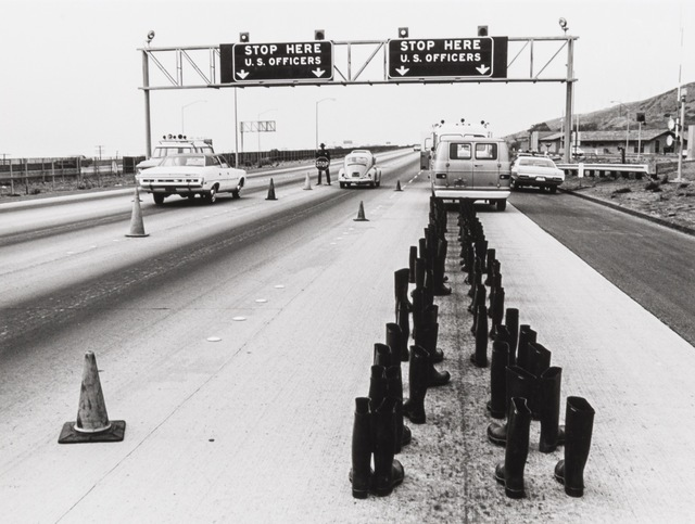 , '100 Boots at the Checkpoint, San Onofre, California,' 1972, Richard Saltoun