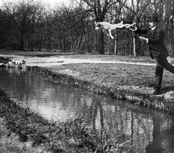 , 'Bois de Boulogne Monsieur Folletete Le Secretaire de Papa avec son chien, Tupy. Paris,' 1912-printed 1978 under the supervision of the photographer, Scott Nichols Gallery