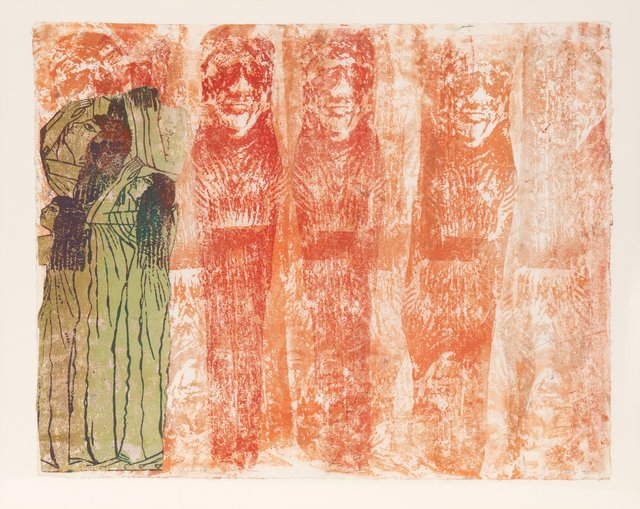 Nancy Spero, 'Mourning Women', 1990, Drawing, Collage or other Work on Paper, Hand-printing and collage on paper, Heritage Auctions