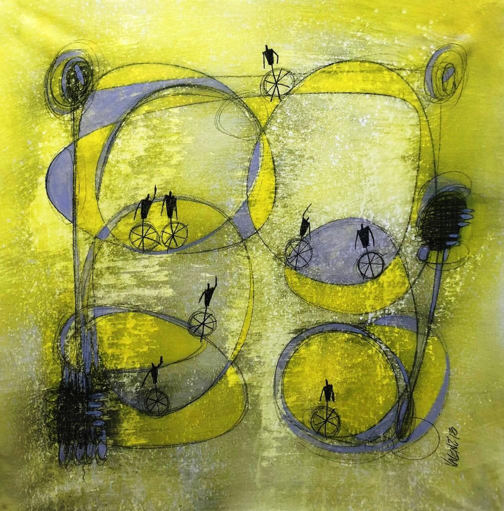 SERGIO VALENZUELA - Around the life - Painting, mixed media 32 x 32