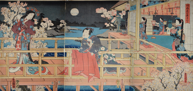 , ' Night Cherry Blossoms and Returning Geese,' 1854, Ronin Gallery