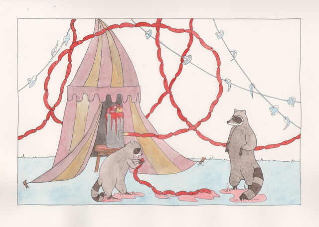 , 'Raccoons with Sausage,' 2015, Denny Gallery