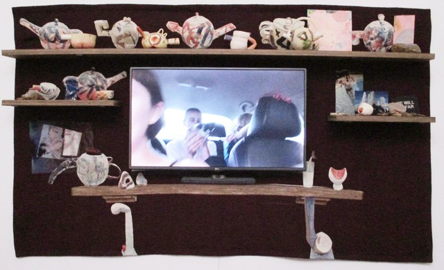 Laure Prouvost, 'The TV Mantelpiece', 2016, Installation, Tapestry, shelf, ceramics, TV screen , teabags, knife, acrylic, paintings and stone, video, Galerie Nathalie Obadia