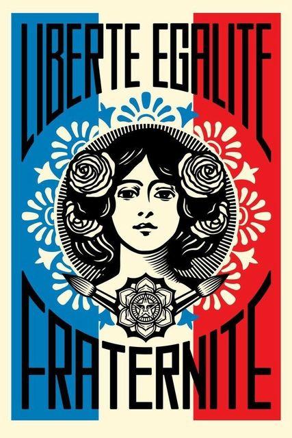 Shepard Fairey, 'Liberté, Ealité, Fraternité', 2018, Print, Letter Press, New Union Gallery